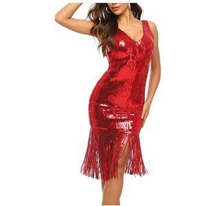 V Neck Sequin Flapper Dress 20s Great Gatsby Party